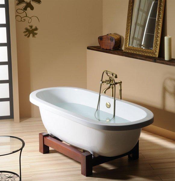 freistehende badewannen matrix w freistehende badewanne mit holzgestell. Black Bedroom Furniture Sets. Home Design Ideas